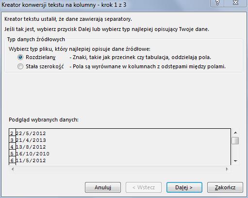 konwerowanie daty na prawidlowy format excel