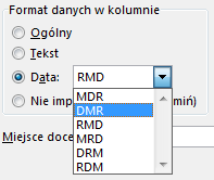 wejściowy format daty excel