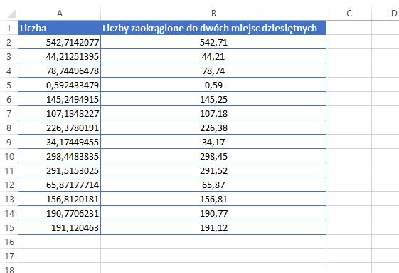 Excel zaokrąglanie liczb