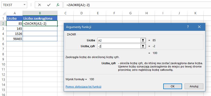 Excel zaokrąglanie pełne setki