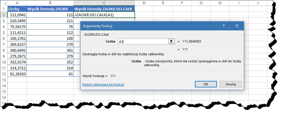 Excel zaokr do całk argumenty