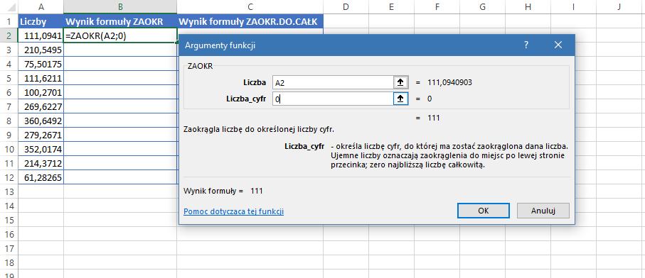 Excel zaokr do całkowitych