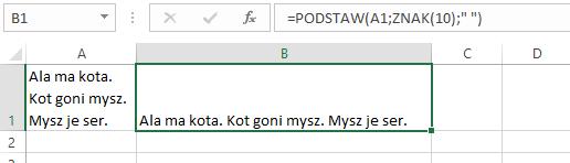 kasowanie wierszy w komórce Excela